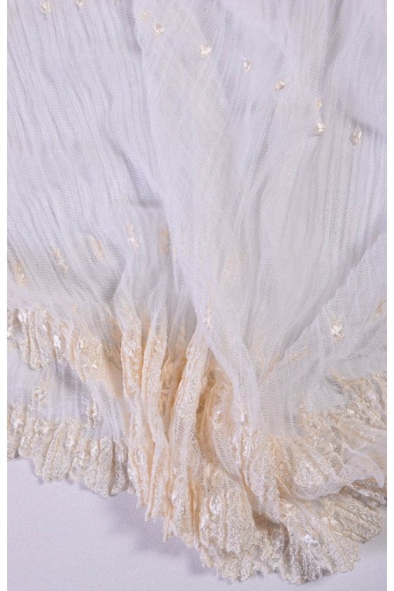 Pleated tulle with embroidery