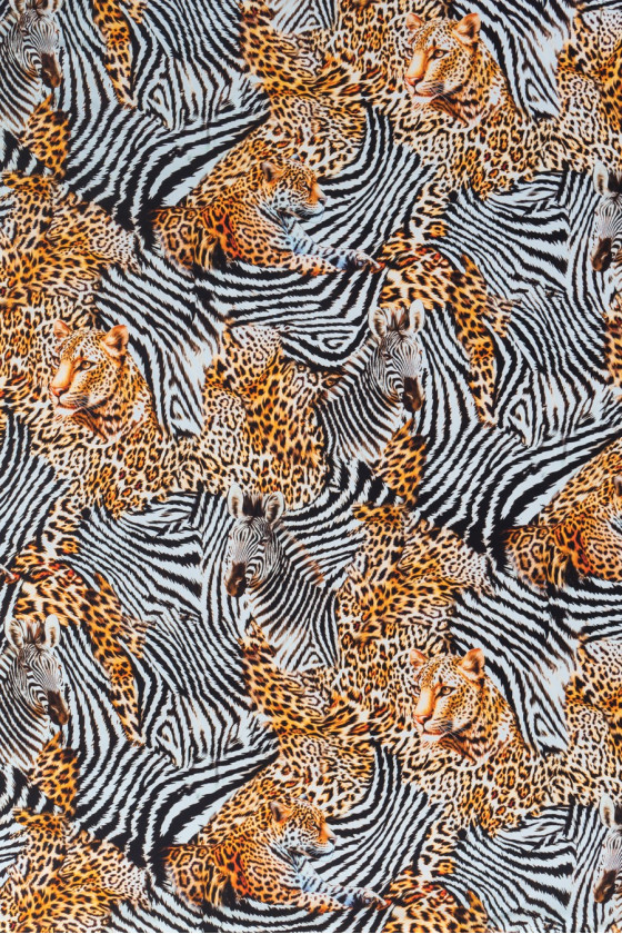 Crepe silk tigers and zebras