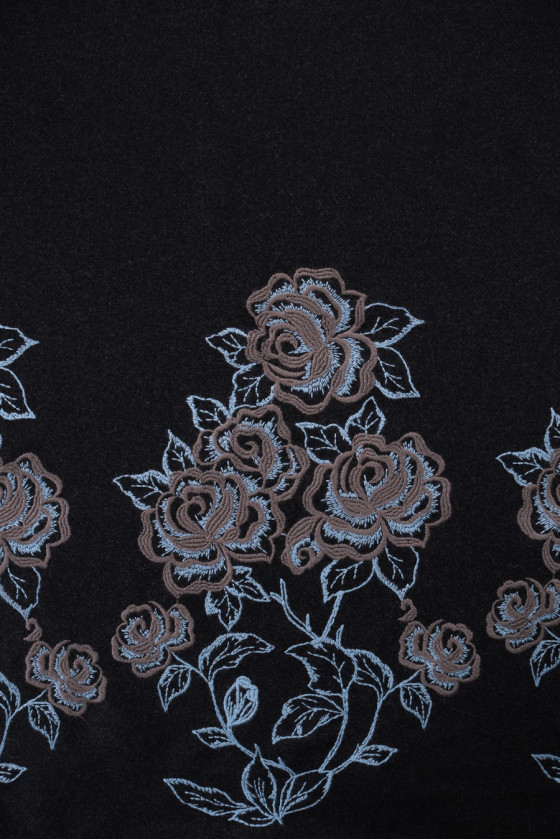 Graphite coat wool with embroidery
