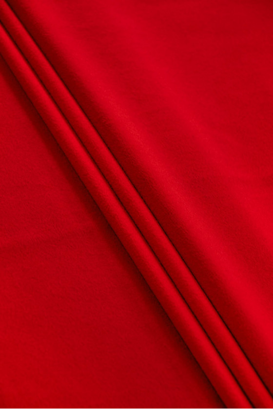 Red cashmere jacketed fabric