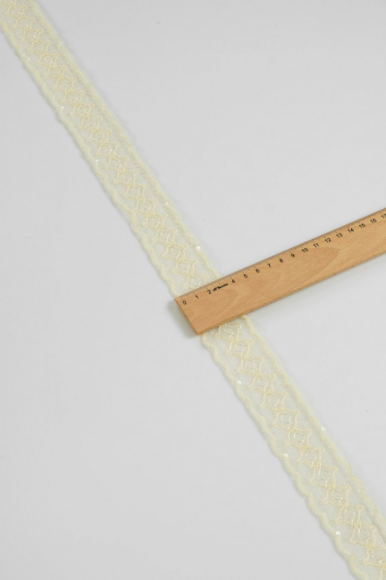 Lace tape with ecru sequins