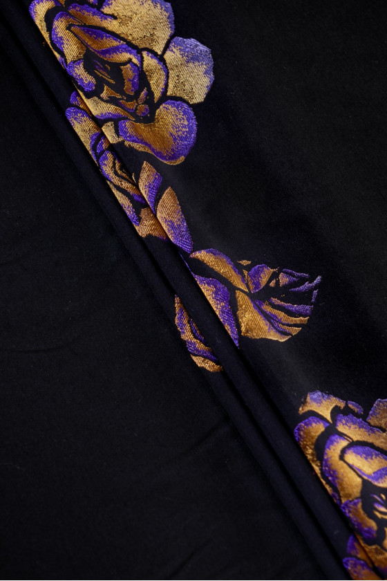 Black jacquard with flowers...