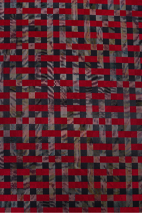 Checkered jacquard black and red