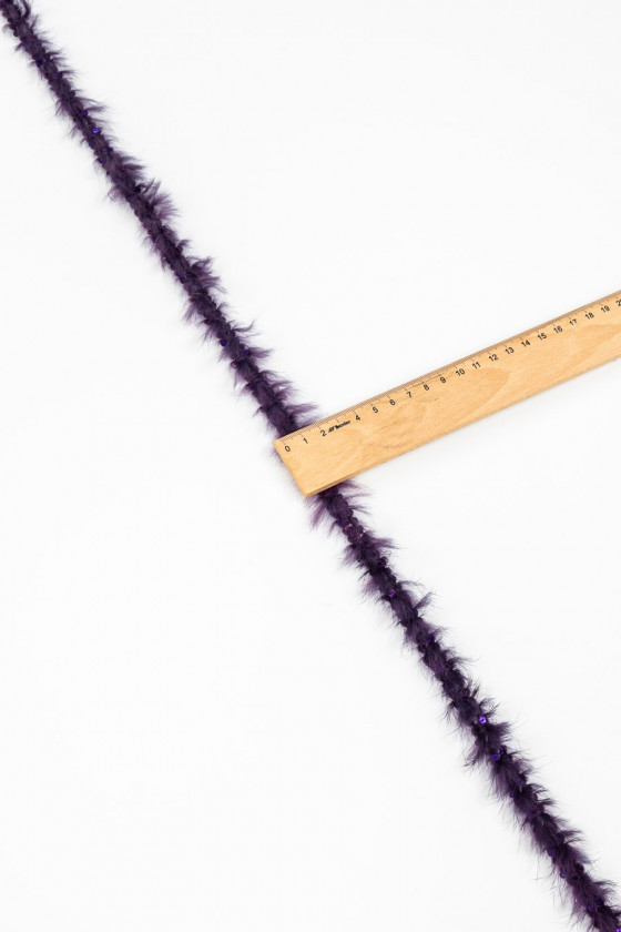 Tape with rabbit fur and purple sequins