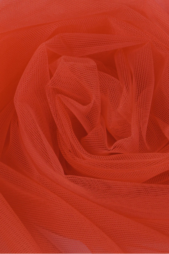 Soft coral tulle stretchable in both directions