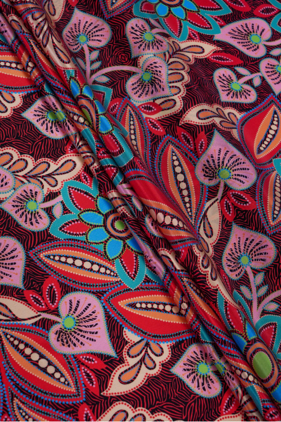 Silk satin in colorful flowers