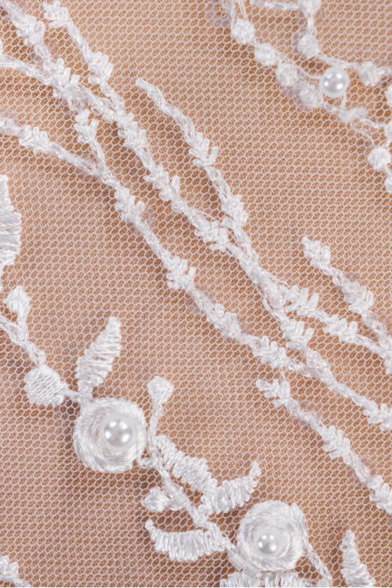 Lace with pearls - cream