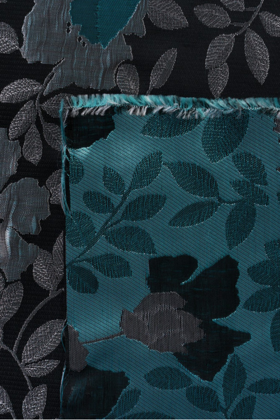Jacquard fabric - black in silver-turquoise flowers