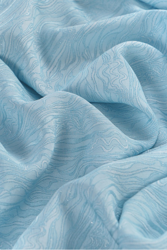 Jacquard fabric - blue with silver thread