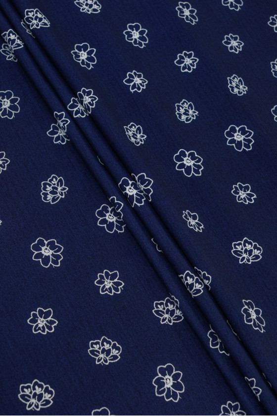 Viscose knit with embroidery