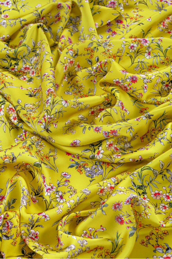 Polyester satin in fine flowers