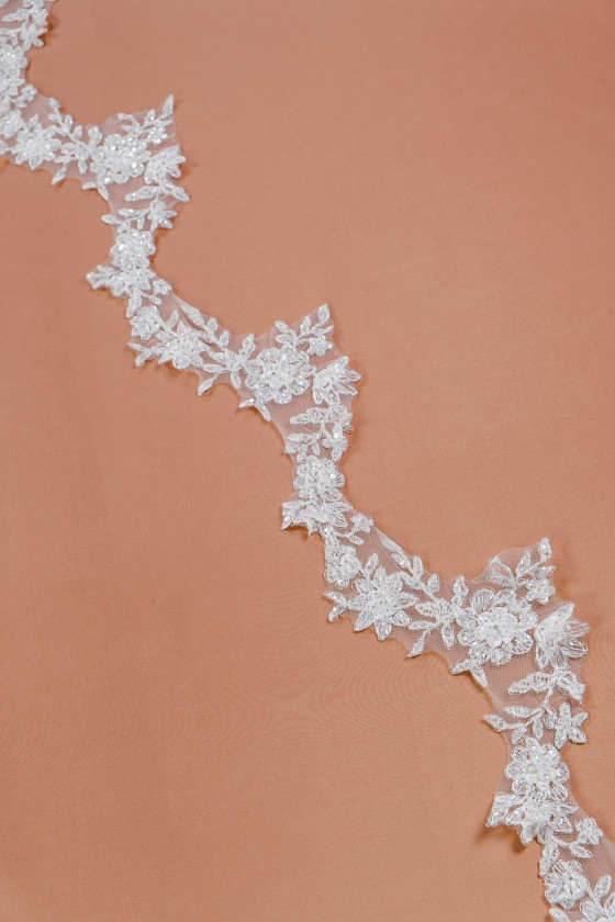 Lace tape with beads and silver thread