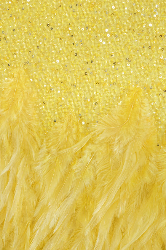 Visiting fabric with feathers - yellow