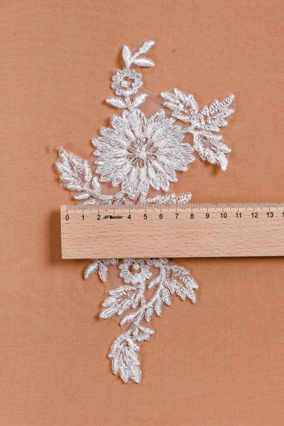 Wedding applay with beads and silver thread