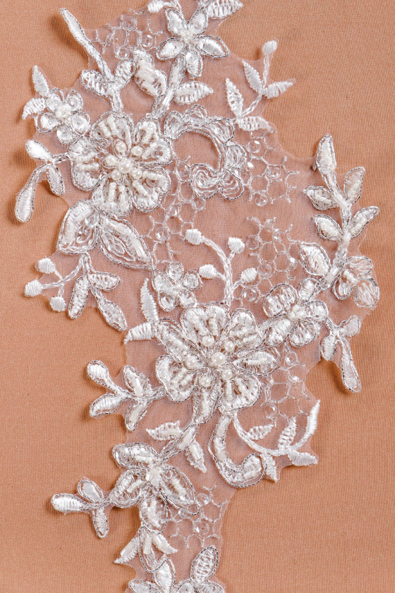 Wedding applay with pearls and silver thread