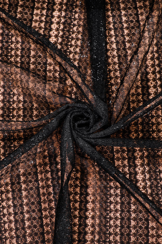 Black lace with lurex thread - narrow