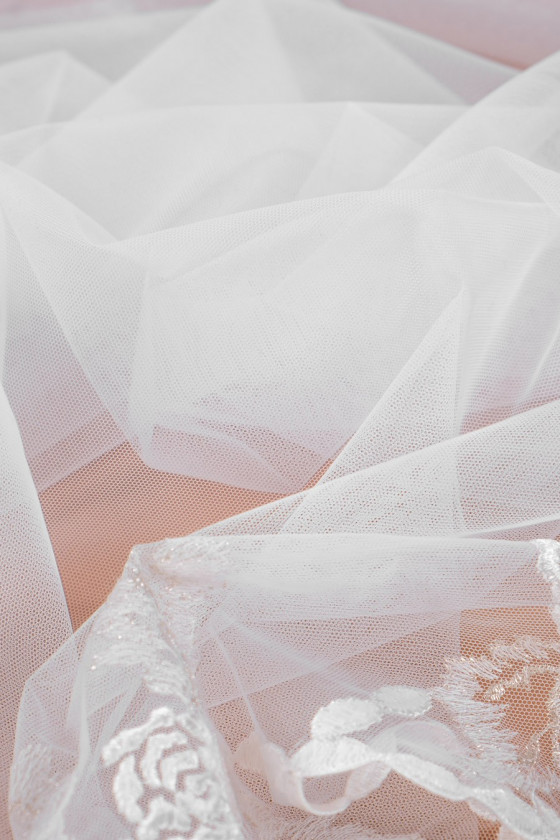 Wedding tulle with embroidery in roses