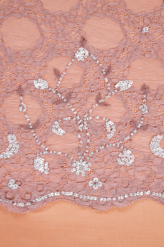 Lace with sequins dirty pink