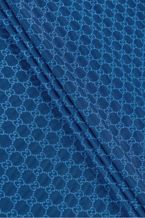 Embroidered fabric blue -...