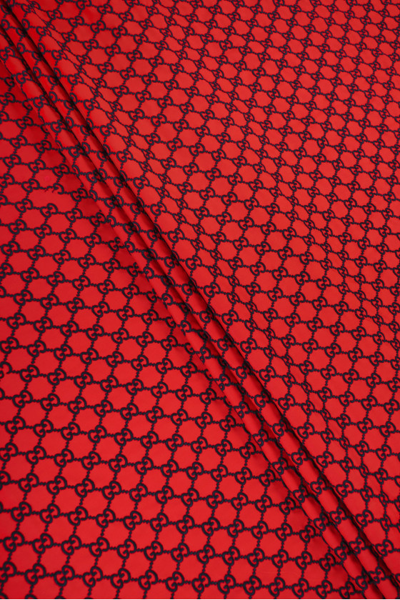 Fabric embroidered red -...