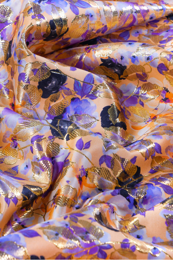 Jacquard fabric in flowers and leaves