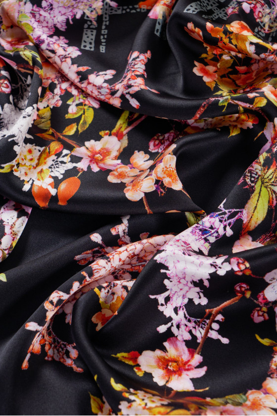 Silk satin in flowers - coupon