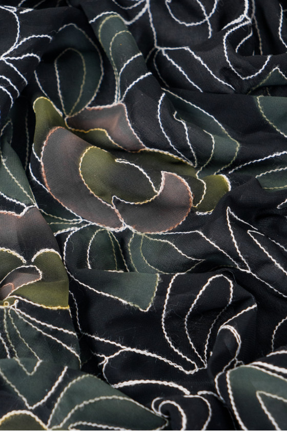 Embroidered polyester chiffon