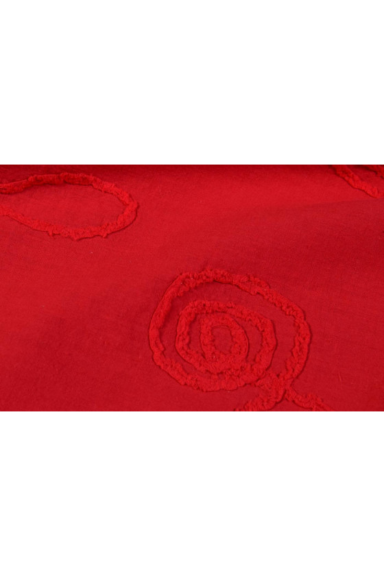 Embroidered red cotton