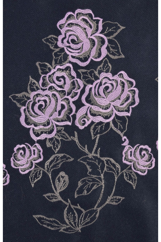 Coat fabric with embroidery