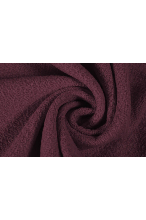 Coat fabric with aubergine wool texture